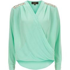 Luxe Mint wrap trim blouse ($27) ❤ liked on Polyvore featuring tops, blouses, shirts, long sleeves, green, green long sleeve shirt, embellished tops, long sleeve tops, green shirt and shirt blouse