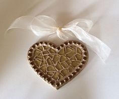 Glittery Gold Heart Mosaic made with charger by Heart2HeartMosaics, $25.00