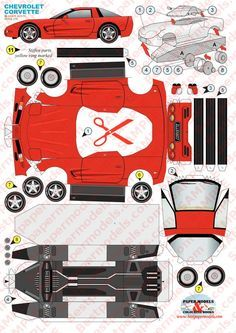 Modellierpapier: PaperCraft - Chevrolet Corvette - New Ideas Cardboard Model, Cardboard Toys, Paper Toys, Chevrolet Corvette, Paper Model Car, Paper Car, Hobbies And Crafts, Diy And Crafts, Free Paper Models