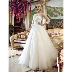 A-line+Princess+Bateau+Sweep/Brush+Train+Tulle+Wedding+Dress+(466946)+–+USD+$+164.99