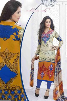 Yellow,Blue & MultiColor Lawn Cotton UnStitched Straight Suit With Chiffon Dupatta