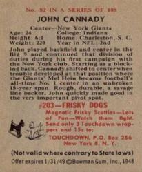 1948 Bowman #82 John Cannady Back