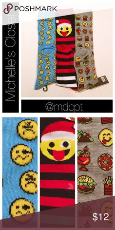 Emoji knee highs 3 pairs, price firm.  All poly/spandex blend.  Standard size.  Light blue with emoji faces, striped Santa emoji, grey food themed emoji. Accessories Hosiery & Socks