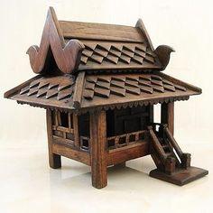 Side Entrance Hand Crafted Teak Wood Buddhist Monk Guardian Thai Spirit House | eBay