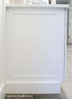 DIY End Panels - Cost effective solution to customize kitchen cabinets for my farmhouse fixer upper kitchen - Domestic Deadline Kitchen Cabinets End Panels, Refacing Kitchen Cabinets, Built In Cabinets, Upper Cabinets, Diy Cabinets, Custom Cabinets, Kitchen Redo, Kitchen And Bath, Kitchen Design