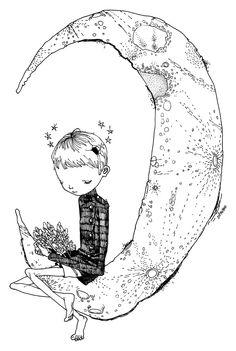 素朴な感じが良い◎月と少年のシンプルな線画 参考になるシンプルな線画