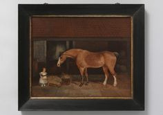 Portrait Of A Child With Wheelbarrow Feeding a Horse (From Robert Young Antiques)  #FolkArt