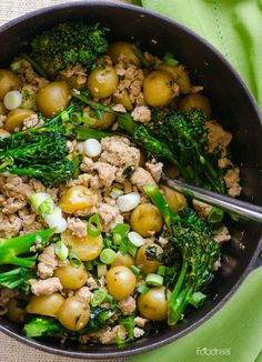 30 Minute Broccolini, Turkey and Baby Potatoes Recipe - Bikini body easy ground turkey skillet recipe that is easy enough for weeknights and even the pickiest eaters will love! | ifoodreal.com
