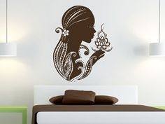 Wall Decals Yoga Lotus Indian Woman Flower Buddha Decal Vinyl Sticker Home Decor Bedroom Interior Design Art Mural Dear Buyers, Welcome to our shop
