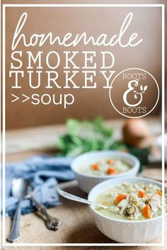This smoked turkey soup has become a go to recipe at my house. My husband is the proud owner of a brand new smoker, which means we've been experimenting with all sorts of smoked meats. When he smoked a turkey at Thanksgiving, I was looking for ways to use up the leftovers. This smoked turkey soup was the perfect way to put smoked turkey legs to good use. Can be made gluten-free, grain-free and dairy-free switching out a few ingredients. Chowder Recipes, Easy Soup Recipes, Real Food Recipes, Drink Recipes, Free Recipes, Salad Recipes, Cooking Recipes, Smoked Turkey Soup Recipe, Smoked Turkey Legs