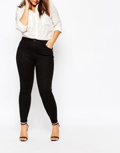 Image 4 of ASOS CURVE Lisbon Mid Rise Ankle Grazer Jean In Clean Black