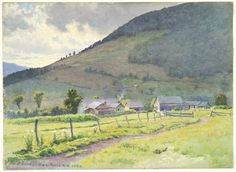 """A Vermont Farm,"" Frederic Arthur Bridgman, 1890, watercolor and gouache on off-white wove paper, 10 7/16 x 14 5/16"", Fogg Museum."