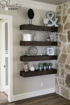 How to build simple floating shelves.- in living room
