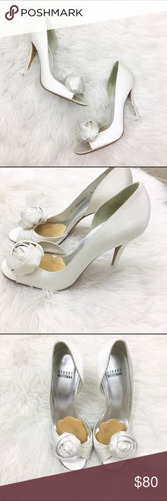 "Stuart Weizmann pomposo satin d'orsay wedding shoe Gorgeous sating S.W. wedding heels. D'orsay peep toe 4 1/4"" heels. Light wear as seen in photos. Size 8 M. Stuart Weitzman Shoes Heels"