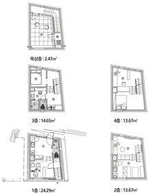 Kumho-dong narrow housing with skip floor method Minimal Home, Studios, Prefab Homes, Tiny Living, Detached House, Layout Design, Architecture Design, Minimalism, Floor Plans
