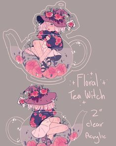 My last acrylic charm design!!! I love this one so much! She's a fruity floral tea witch who can withstand any hot temperatures! ✨ #illustration #pastel #peonies #witchcraft #witch #tea #teapot