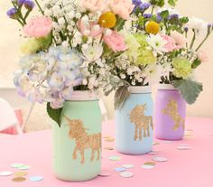 Use Mason Jars to make these DIY unicorn flower vases!