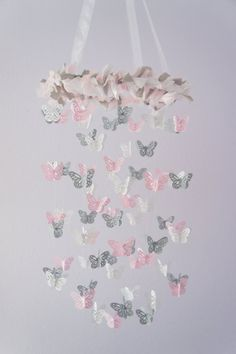 Pink & Gray Nursery Butterfly Mobile by LoveBugLullabies on Etsy