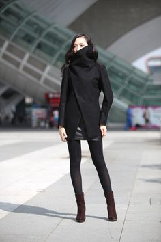 Black High Collar Jacket Winter Wool Women Coat  by Sophiaclothing, $149.99