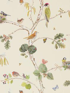 Woodland Chorus Cream wallpaper by Sanderson