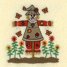 Scarecrow Woman with Butterflies - 4x4 | What's New | Machine Embroidery Designs | SWAKembroidery.com Starbird Stock Designs