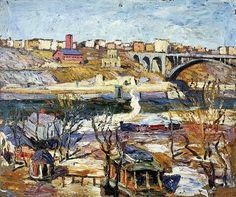 """Ernest Lawson (American, 1873 - 1939) """"Washington Bridge"""""""