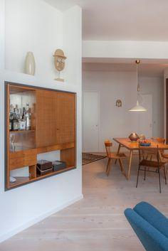 built in cabinet in desginer loft in Berlin, mid century modern design