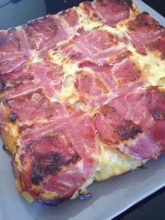 Quiche sans pâte bacon, pomme de terre et oignonsOn peut rajouter du chou fleur, des carottes, des champignons etc.. pour l'alléger