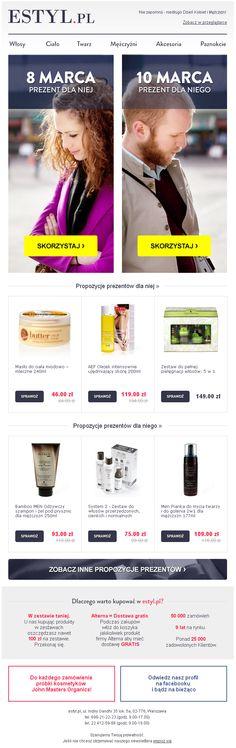 Projekt newslettera przygotowanego z okazji Dnia Kobiet i Dnia Mężczyzny dla sklepu Estyl.pl