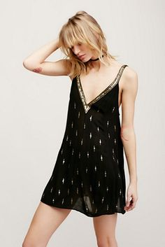 Free People Sheer Rising Sun Slip Dress Black Gold Sequin Plunge in  Clothing 85f803894