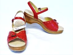NEW Sanita Dawn Platform Sandals 9.5-10/40 Red Leather Laser Cutouts Medium Heel #SanitaDawn #PlatformSandals #DressyCasual