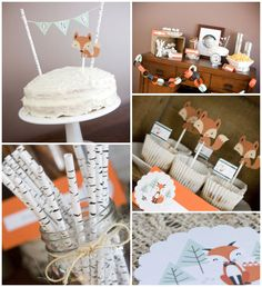 Fox Themed 1st Birthday Party with Such Cute Ideas via Kara's Party Ideas KarasPartyIdeas.com #foxparty #firstbirthdayparty #woodlandparty #...