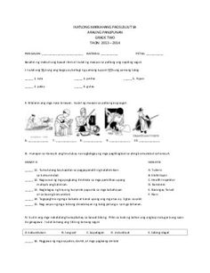 Third Periodical Test in Araling Panlipunan Grade 2 K to 12 Note: I just copied it from my daughter's exam and upload it to here for some reference. Worksheets For Grade 3, Music Worksheets, Preschool Worksheets, Printable Worksheets, Math Lesson Plans, Math Lessons, Filipino Words, Ap Test, Dolch Sight Words