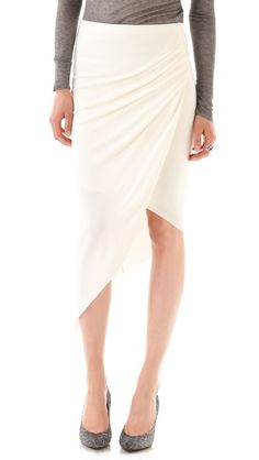 This Helmut Lang Helix Asymmetrical Skirt is super sexy, but not overtly so!  I love the draping - come back in smaller sizes! #fashion #style via @Shopbop