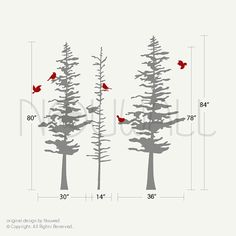 Fully customized winter trees, these trees can easily be re-arranged to suit your wall space, the branches can be apply separately to create different