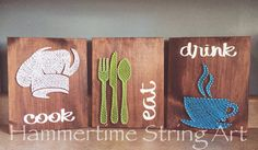 Cook Eat Drink String Art kitchen decor