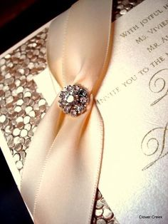 Clover Creek Champagne With Fancy Crystal Available At Fitzgeraldu0027s Fine  Stationery · Elegant Wedding ...