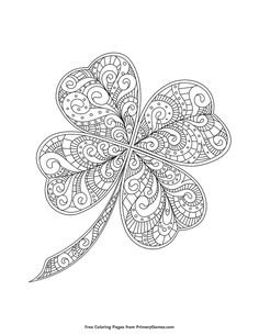 Patrick's Day Coloring Pages eBook: Zentangle Four-Leaf Clover Free printable St. Patrick's Day Coloring Pages eBook for use in your classroom or home from PrimaryGames. Print and color this Zentangle Four-Leaf Clover coloring page. Mandala Coloring Pages, Coloring Pages For Kids, Coloring Books, Coloring Sheets, Coloring Pages To Print, Art Projects For Adults, Craft Projects For Kids, Printable Adult Coloring Pages, Classroom