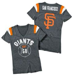 d24a50148 San Francisco Giants Black Women s Tri-Blend V-Neck Raglan T-Shirt