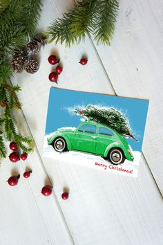 """Excited to share this item from my #etsy shop: VW Beatle Christmas Card,5.5""""x4"""" Set of 10, Green car holiday card, Volkswagen Christmas card, Holiday card, VW cars card, car enthusiast"""