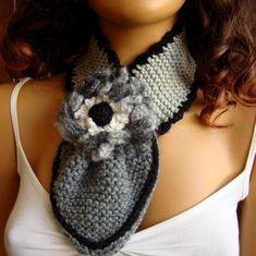 Gray Neckwarmer Chunky Scarf Crochet Gray Cowl by RoseAndKnit