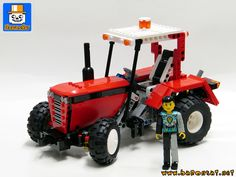 https://flic.kr/p/MfuSiU | TECHNIC TRACTEUR 02 | A new commissioned model : a classic style Technic tractor. Shot here with an old Technic figure to show the size. With, of course, a functional steering system and a gear on the rear wheels to rotate the coupling pin.  Interesting model to create as it's my first Technic model... no kidding ;)  Comes in red and black just like it was deadpool next vehicle ... no worse than a little scooter, right?