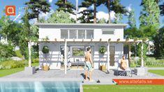 """""""25 kvadrat Liv"""", ett modernt attefallshus med allt och lite till. Vi anpassar det utifrån era förutsättningar och önskemål. Välkommen! #attefallshus #attefalls #atterfallshus #attefallshuset #arkitektur #boendefrågor #sommarhus #gästhus #minivilla #fritidshus #friggebod #ministuga #25kvadrat #compactliving #komplementbyggnad #komplementbostad #sommarnöjen Plunge Pool, Small Places, Tiny House Design, House Made, Minimalism, Villa, Spa, Exterior, Container Homes"""
