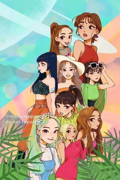 TWICE Dance the Nigth Away fanart Momo Mina Tzuyu Chaeyoung Jeongyeon Nayeon Sana Dahyun Jihyo K Pop, Kpop Girl Groups, Kpop Girls, Anime Girls, K On Anime, Chibi, Moe Manga, Twice Group, Twice Fanart