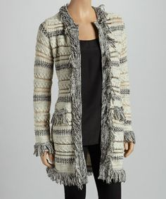Take a look at this Gray & Beige Stripe Fringe Cardigan - Women by Olivia M on #zulily today!