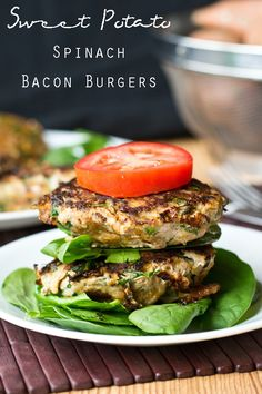 Sweet Potato Spinach Bacon Burgers {Tastes of Lizzy T}Ground turkey is mixed with sweet potato, spinach, bacon and seasonings to make these savory burgers. They're one of our favorite healthy meals that are grain free, gluten free, sugar free and dairy free!