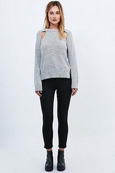 Light Before Dark Knit Open Raglan Jumper in Ivory - Urban Outfitters