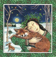 Starry Fox Hug ~ Wendy Andrew. Christmas / Yule card