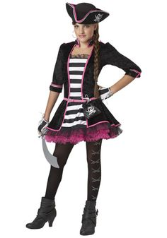High Seas Pirate Tween Costume Tween girls love to bring attitude to their Halloween costumes, and this unique pirate outfit has some girly details that a future Tween Halloween Costumes, Costumes For Teenage Girl, Pirate Dress, Hallowen Costume, Halloween Costumes For Teens, Girl Costumes, Pirate Costumes, Costume Ideas, Halloween Ideas
