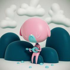 Sad Uke Dog Vinyl Toy Design by Shinbone Creative